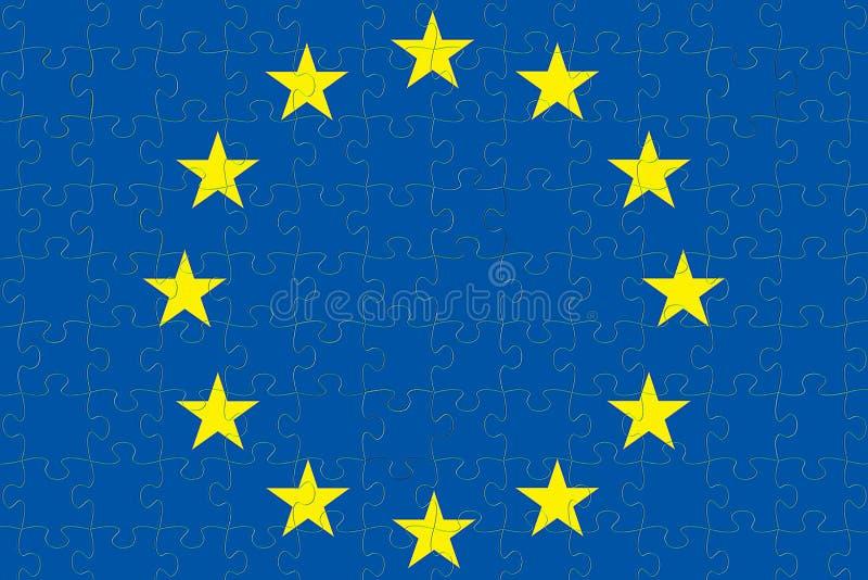 La UE azul de la unión europea señala el rompecabezas por medio de una bandera con los pedazos del rompecabezas, voto para libre illustration