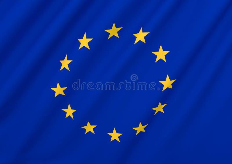 La UE de la unión europea señala por medio de una bandera libre illustration