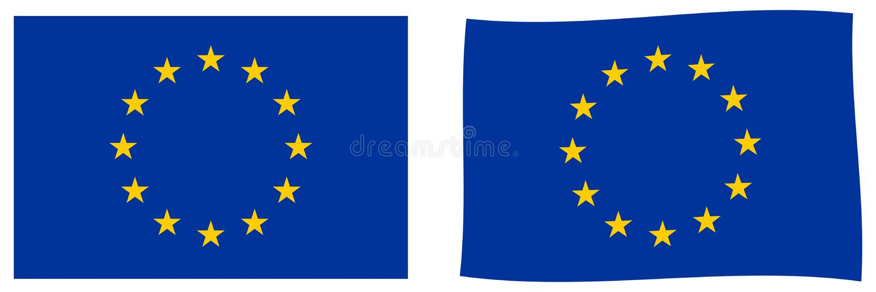 La UE de la unión europea señala por medio de una bandera Versión simple y levemente que agita libre illustration
