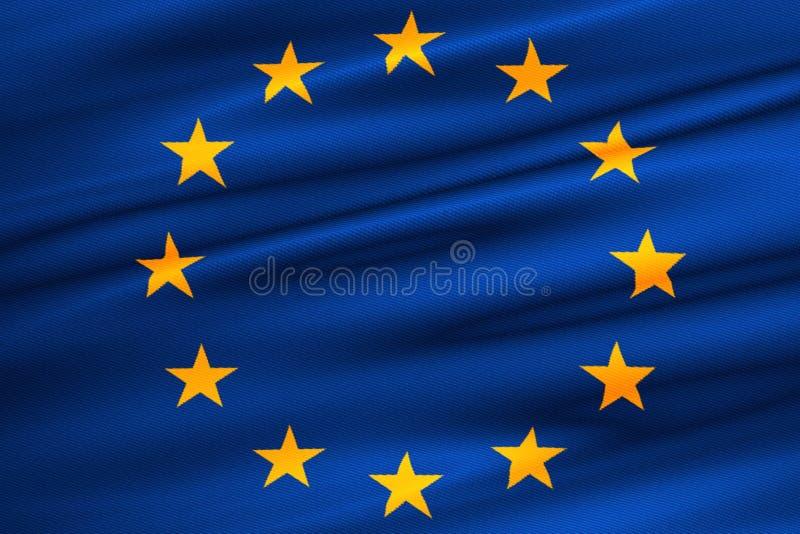 La UE señala por medio de una bandera, la bandera euro, bandera de la unión europea que agita, estrella del amarillo en azul ilustración del vector