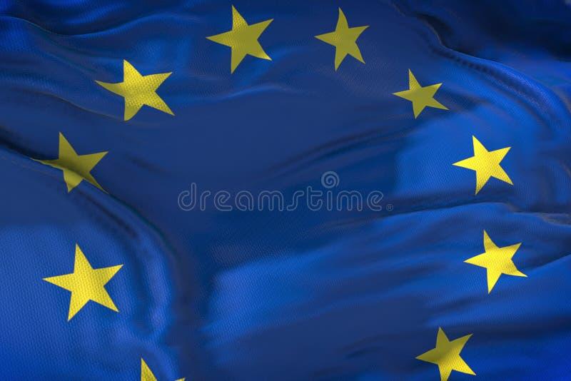 La UE señala por medio de una bandera, la bandera euro, bandera de la unión europea que agita, estrella o del amarillo libre illustration