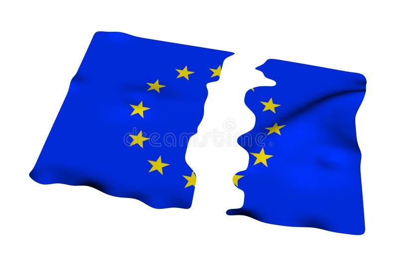La UE señala por medio de una bandera roto para arriba ilustración del vector