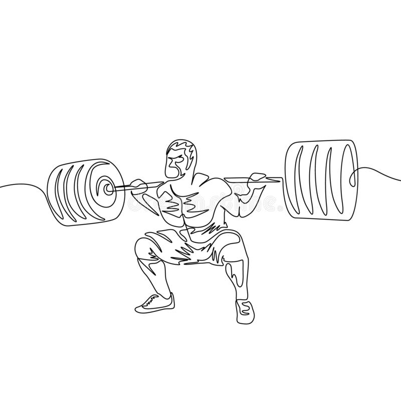 La una línea continua un hombre realiza una posición en cuclillas con un barbell pesado libre illustration
