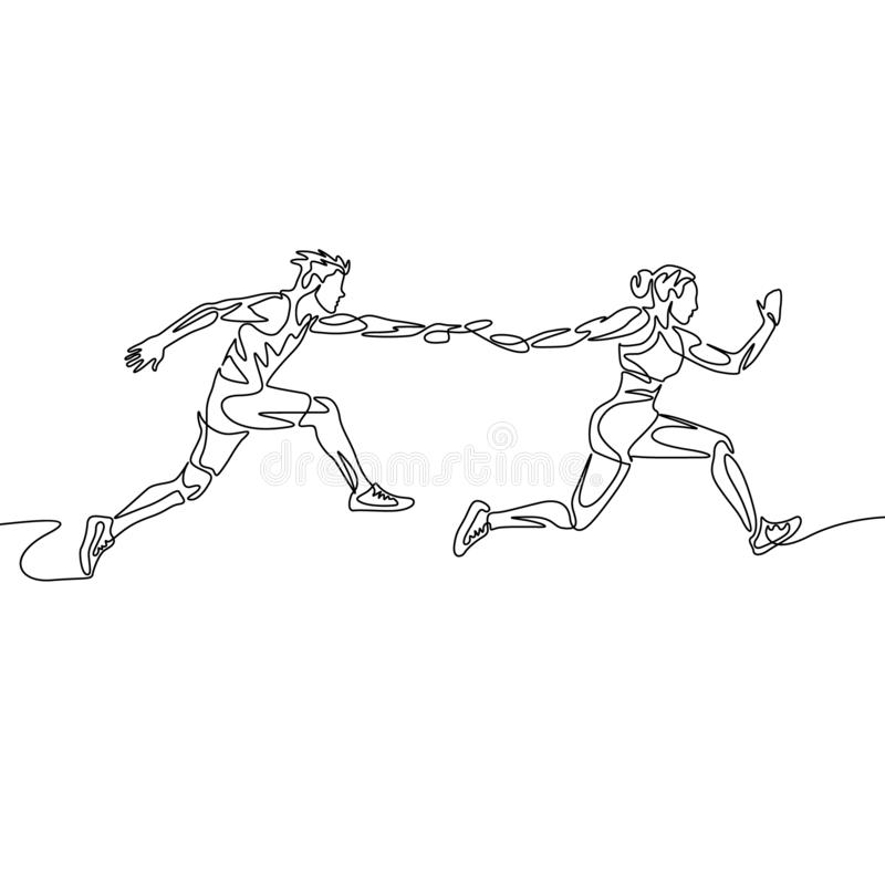 La una raza de retransmisi?n continua del dibujo lineal, corredor pasa el bast?n Concepto del trabajo en equipo libre illustration