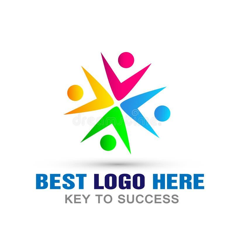 La unión de la gente junta combina el símbolo del icono del logotipo del trabajo para la compañía en el fondo blanco stock de ilustración