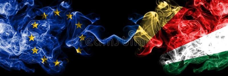 La unión europea contra Seychelles, banderas del humo de Seychelloise colocó de lado a lado Banderas sedosas coloreadas gruesas stock de ilustración