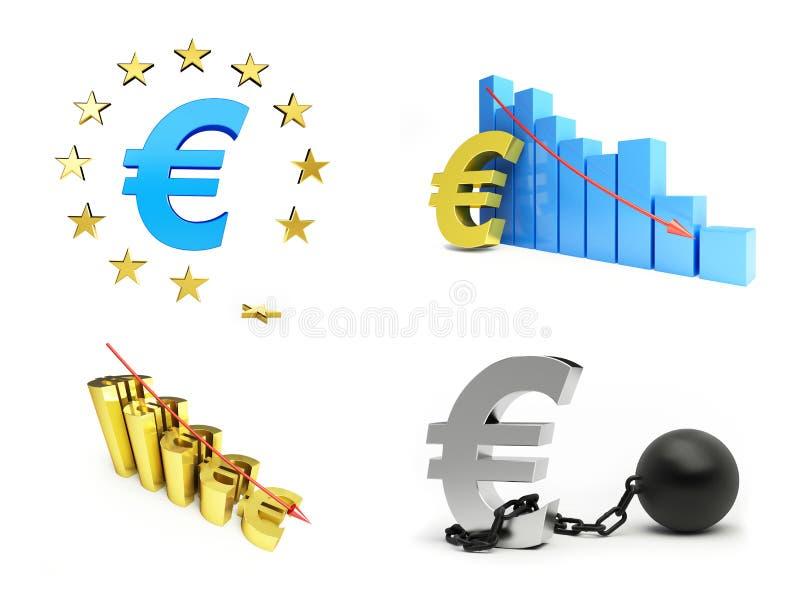 La unión europea, crisis euro fijó en el fondo blanco ilustración del vector