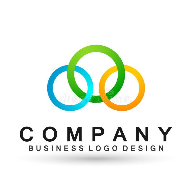 La unión formada círculo abstracto del logotipo del negocio en corporativo invierte diseño del logotipo del negocio Inversi?n fin stock de ilustración