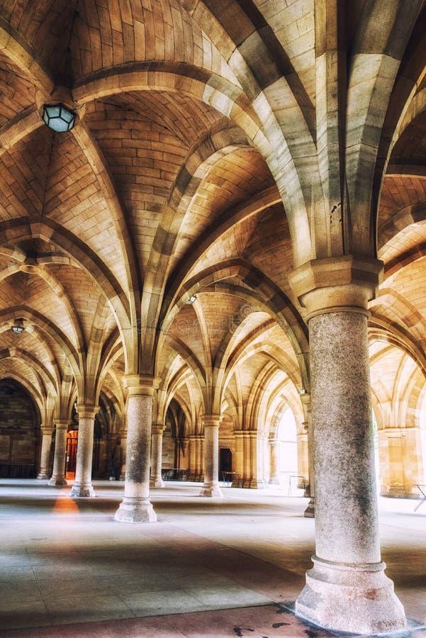 La universidad de Glasgow Cloisters foto de archivo libre de regalías