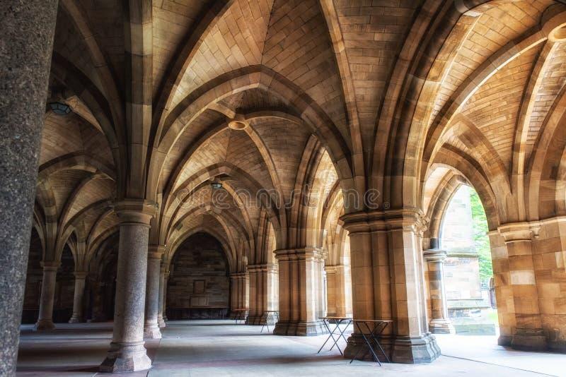 La universidad de Glasgow Cloisters fotografía de archivo libre de regalías