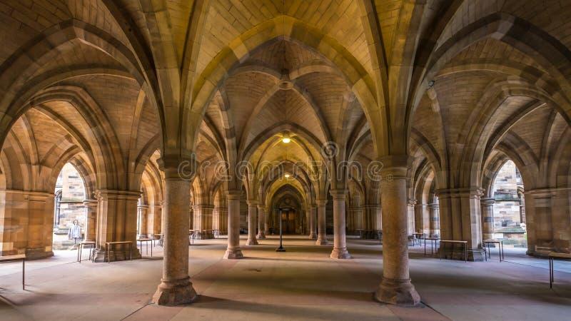 La universidad de Glasgow Cloisters fotos de archivo libres de regalías
