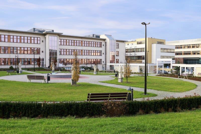 La universidad de Jagiellonian Edificios modernos del campus en Krak?w, Polonia fotos de archivo libres de regalías