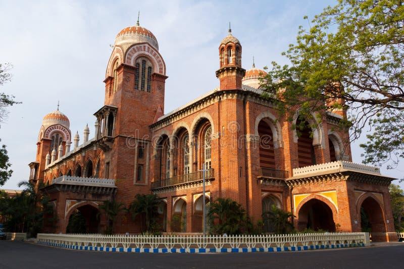 La universidad del edificio de Madras es edificio antiguo en Chennai imagen de archivo