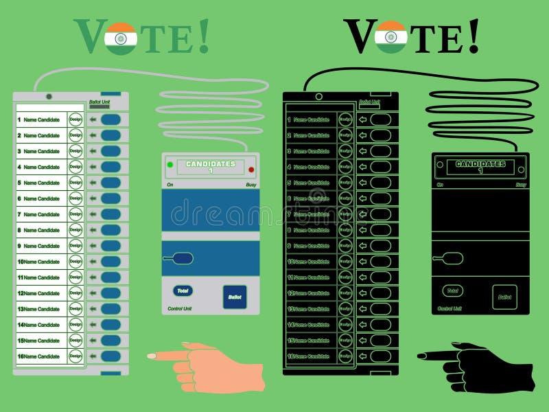 La urna la India de la electrónica coloreó Sin el terraplén del esquema y del negro libre illustration