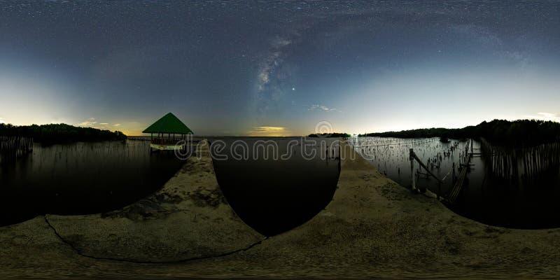 La v?a l?ctea sobre un solo ?rbol y el paisaje de bamb? evita que el mar rompa la costa imagen de archivo
