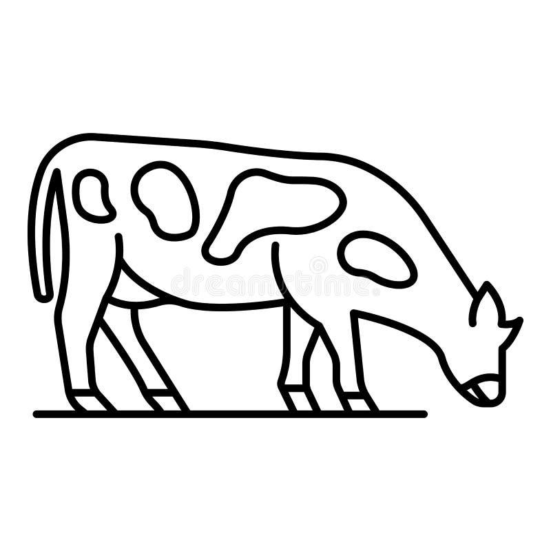 La vaca come el icono de la hierba, estilo del esquema ilustración del vector