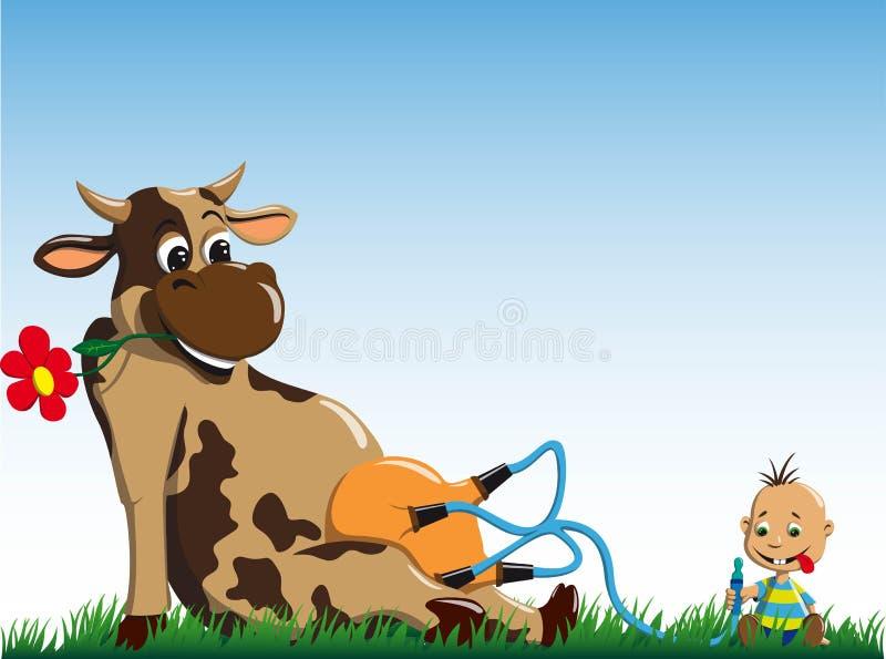 La vaca da la leche al niño pequeño fotografía de archivo