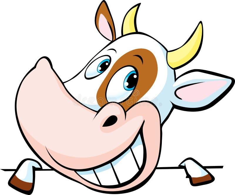 La vaca divertida mira a escondidas hacia fuera de detrás una superficie blanca - vector libre illustration