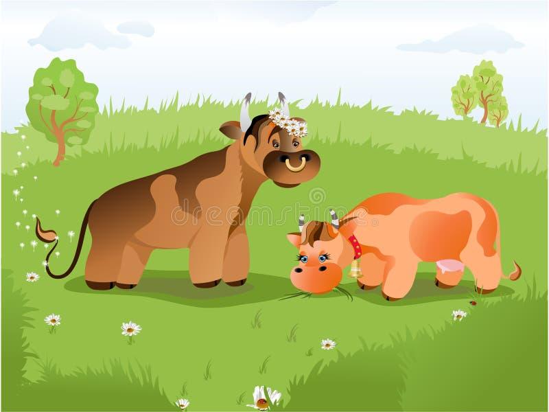 La vaca en el césped libre illustration