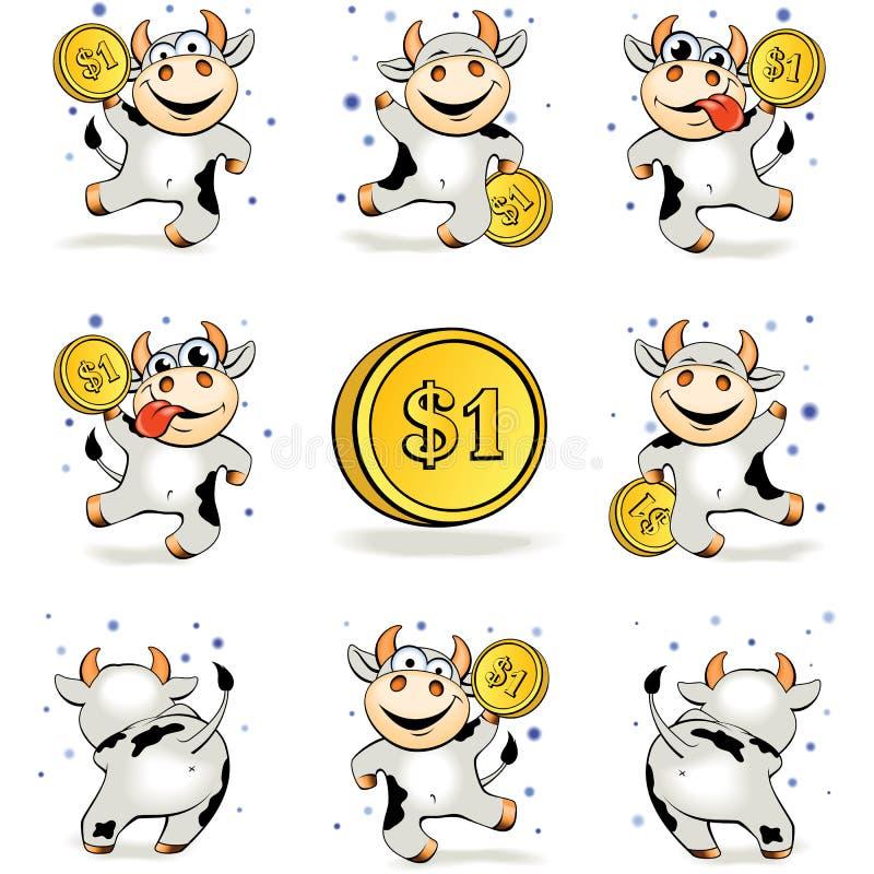 La vaca joven loca de la historieta con la moneda de oro 1 dólar es feliz y dan stock de ilustración