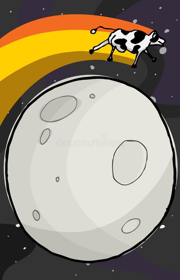 La vaca salta la luna ilustración del vector