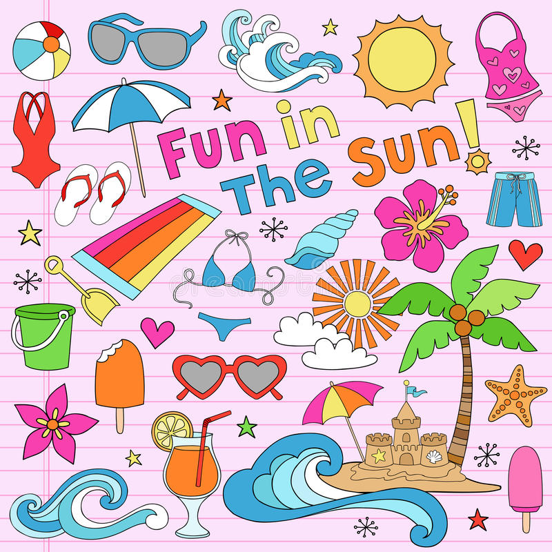 La vacanza della spiaggia di estate Doodles gli elementi di vettore royalty illustrazione gratis