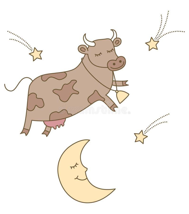 La vache branchée au-dessus de la lune illustration stock