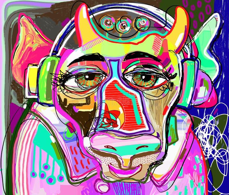 La vache colorée dans les vêtements et des écouteurs roses écoute la musique illustration libre de droits