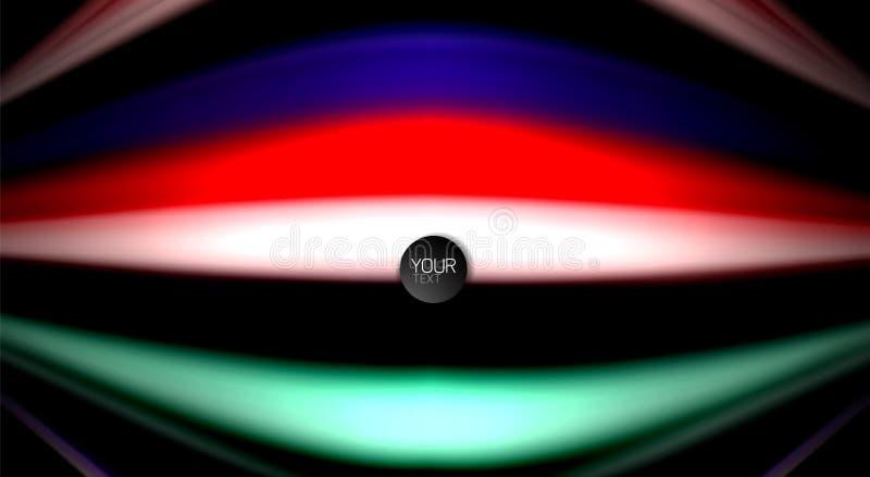 La vague abstraite raye les rayures liquides de couleur de style d'arc-en-ciel sur le fond noir Illustration artistique pour la p illustration de vecteur