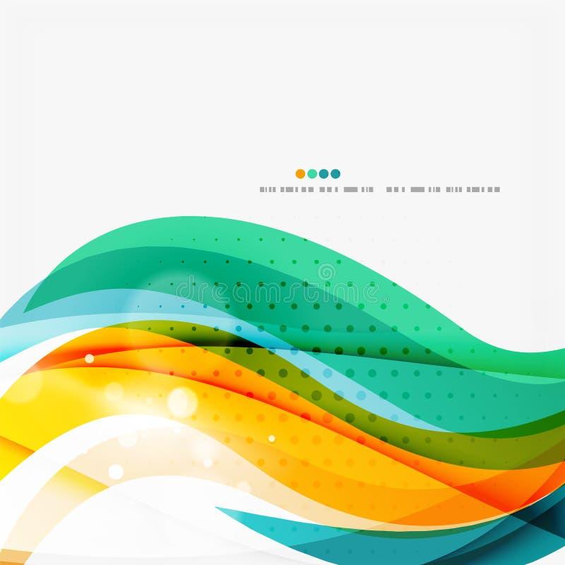 La vague bleue, orange, rouge de remous raye Conception légère illustration stock