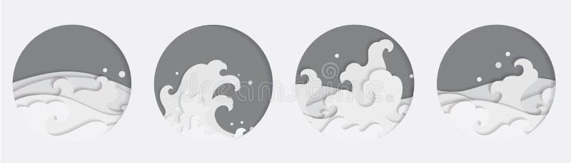La vague d'eau 4 orientale Papercut d?nomme dans la forme ronde tha? chinois japonais illustration stock