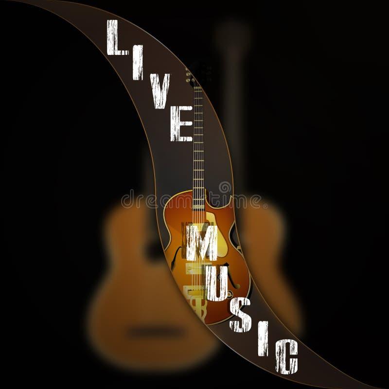 La vague de fond de musique sépare la guitare de jazz illustration stock