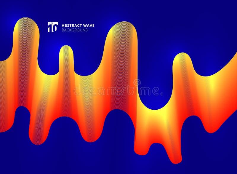 La vague jaune et rouge abstraite raye la courbe lisse sur le backgrou bleu illustration libre de droits
