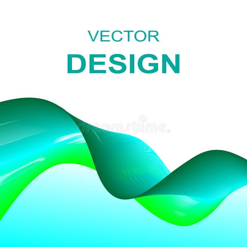La vague vert-bleu raye le fond d'entreprise constituée en société illustration stock