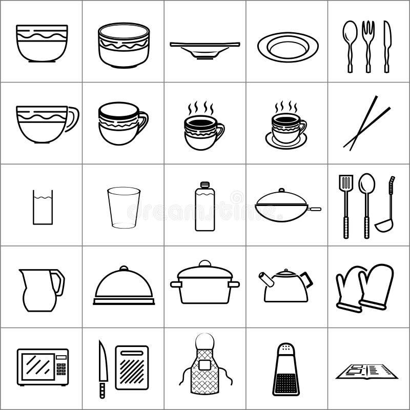 La vaisselle de cuisine d'icône usine le restaurant de cuvette de plat image libre de droits
