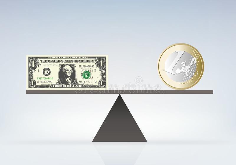 La valeur de l'euro et du dollar sur des échelles d'équilibre illustration libre de droits