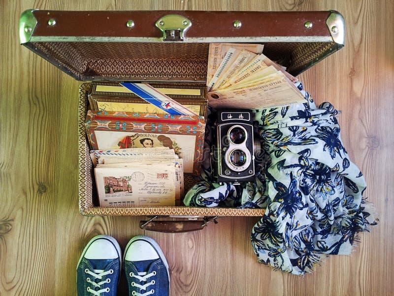 La valigia delle memorie di viaggio fotografie stock libere da diritti