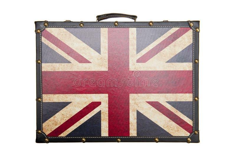 La valise avec le modèle britannique de drapeau a isolé photos stock