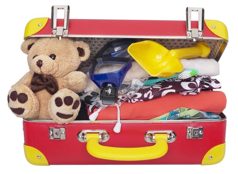La valise des enfants emballés images libres de droits