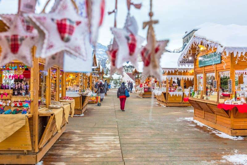 La vallée d'Aoste le 12 décembre 2017 Marché traditionnel de Noël de t image stock