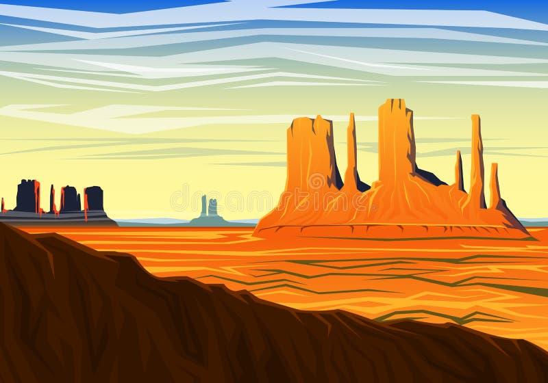 La vallée de montagne et de monument, vue panoramique de matin, crêtes, aménagent en parc tôt en journée voyage ou camping, s'éle illustration libre de droits