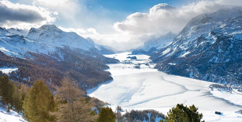 La vallée de St Moritz Switzerland d'Engadine images libres de droits
