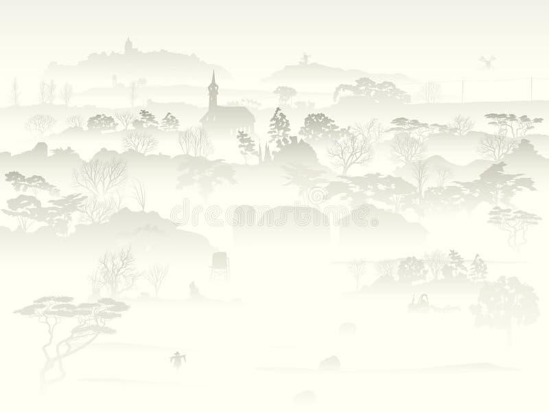 La valle con gli alberi e l'azienda agricola in una mattina annebbiano. illustrazione vettoriale
