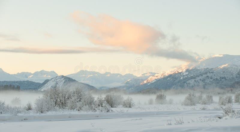 La valle di Chilkat di tramonto sotto una copertura della neve immagini stock