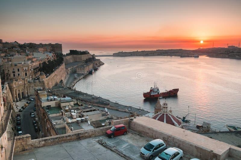 La Valletta ad alba fotografia stock