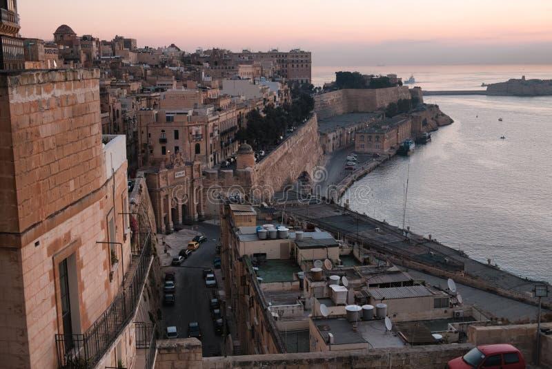 La Valletta ad alba fotografie stock libere da diritti