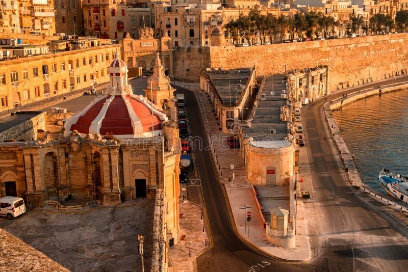 La Valletta al primo mattino immagini stock libere da diritti