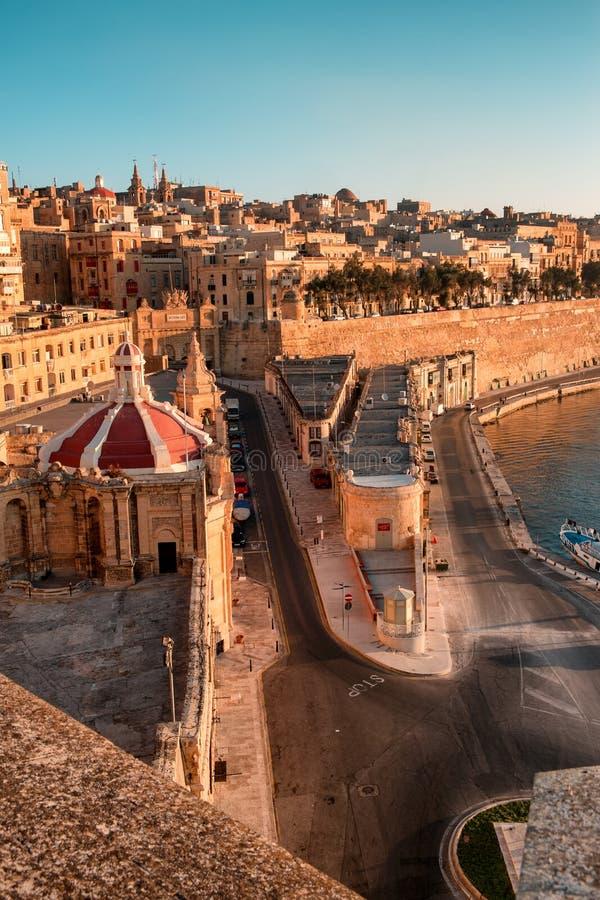 La Valletta al primo mattino fotografie stock libere da diritti