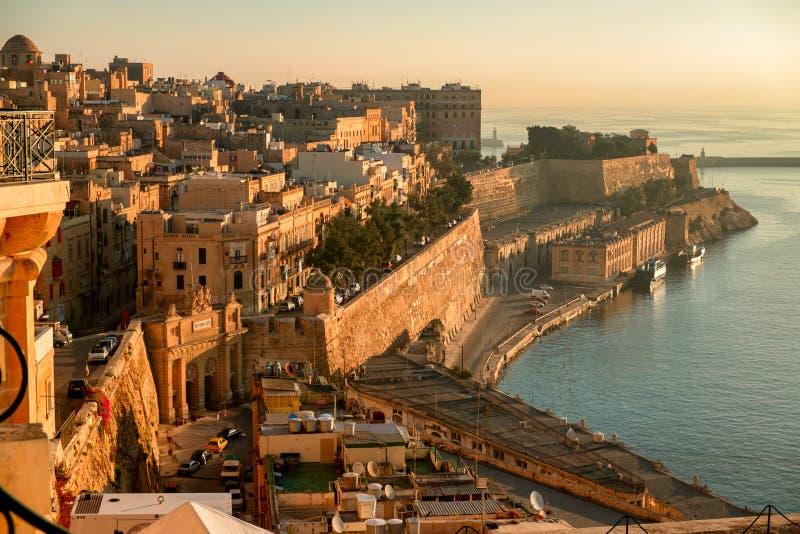 La Valletta al primo mattino fotografia stock libera da diritti