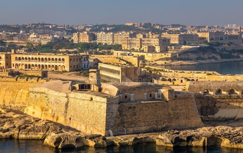 La Valletta Panorama del Forte all'ingresso della città fotografia stock